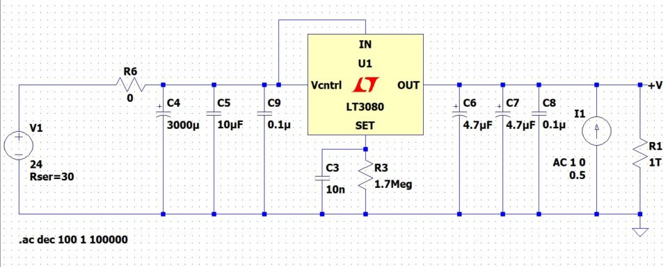 Alimentatore LM317 LT3080 schema elettrico