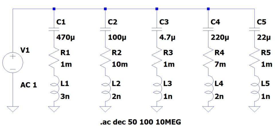 Condensatori di vario tipo in parallelo